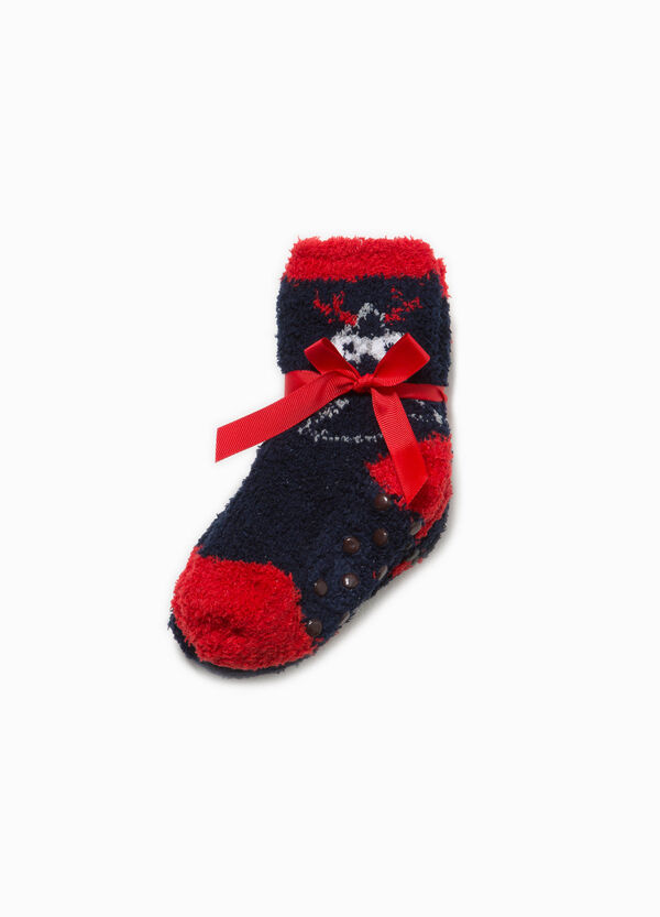 Two-pair pack slipper socks in stretch cotton