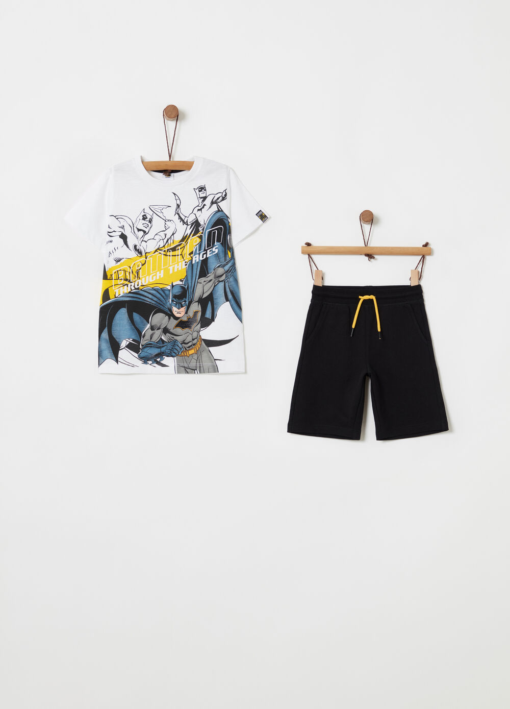 Set t-shirt e shorts con stampa Batman