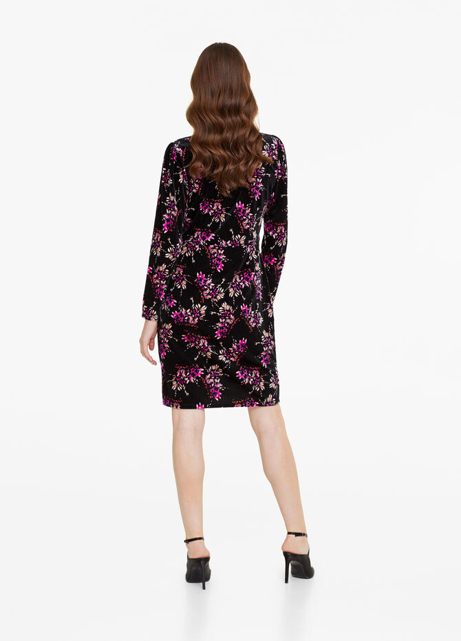 Velvet dress with floral pattern