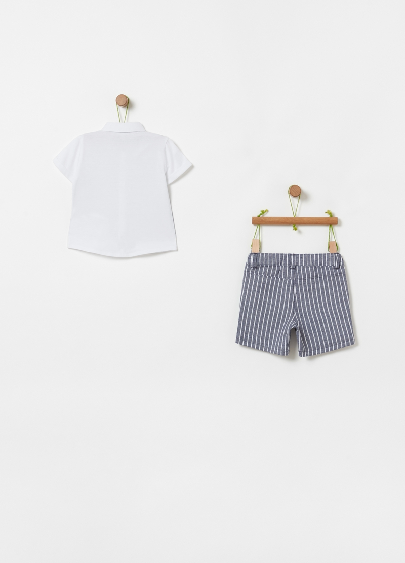 Polo shirt with tie and shorts set image number null