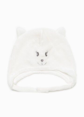 Fur beanie cap with embroidery