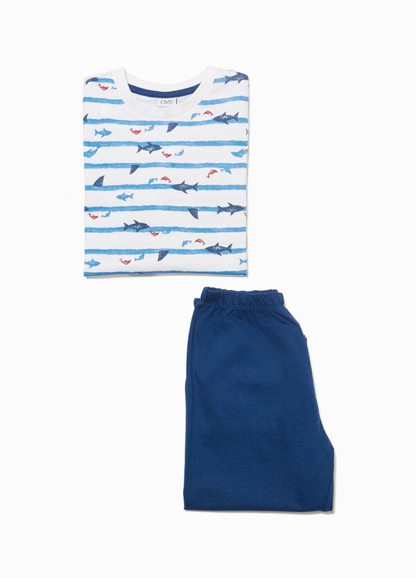 Patterned cotton pyjamas with stripes and fish