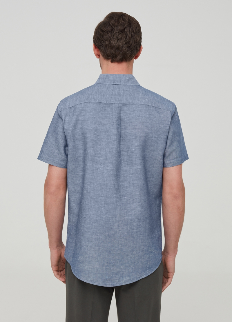 Iridescent-effect cotton and linen shirt image number null