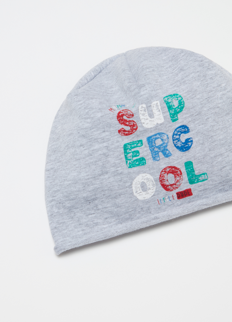 Mélange jersey cap with print image number null