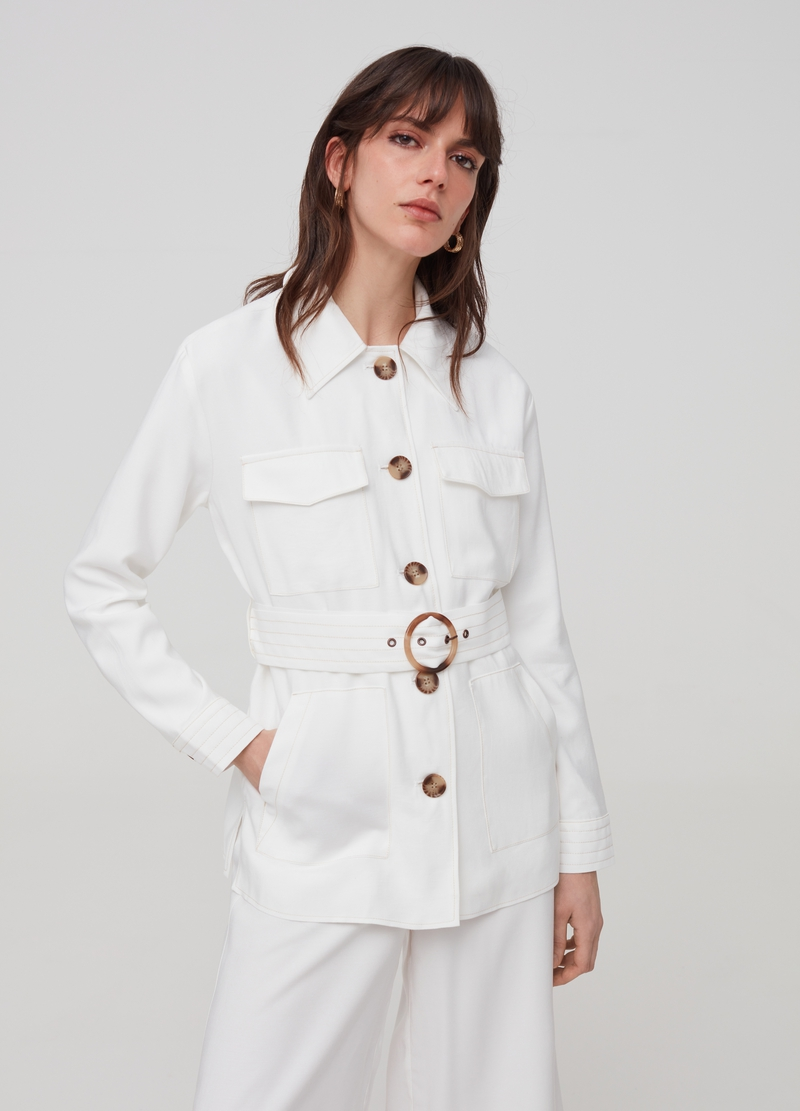 Blazer with belt and pockets image number null