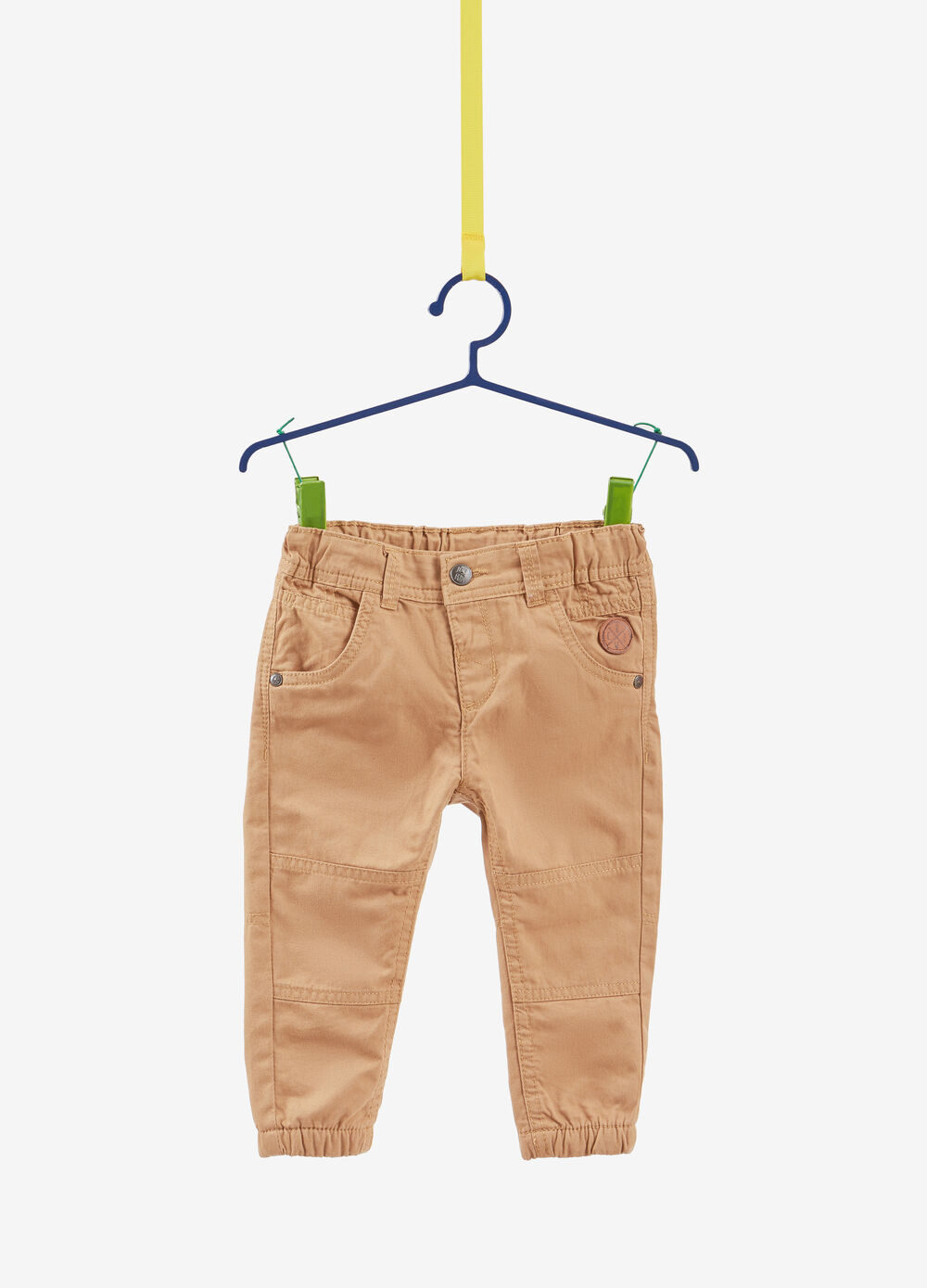 Solid colour 100% cotton twill trousers