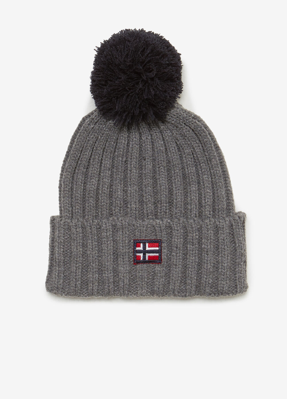 Beanie cap with patch and pompom