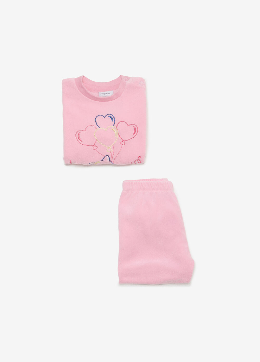 Solid colour pyjamas with hearts and fox embroidery