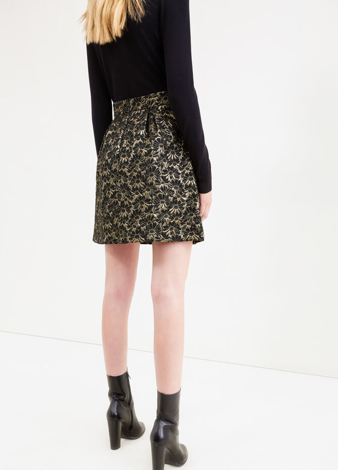 High-waisted flower skirt with lurex