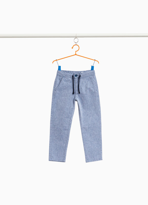 Mélange trousers in linen and cotton