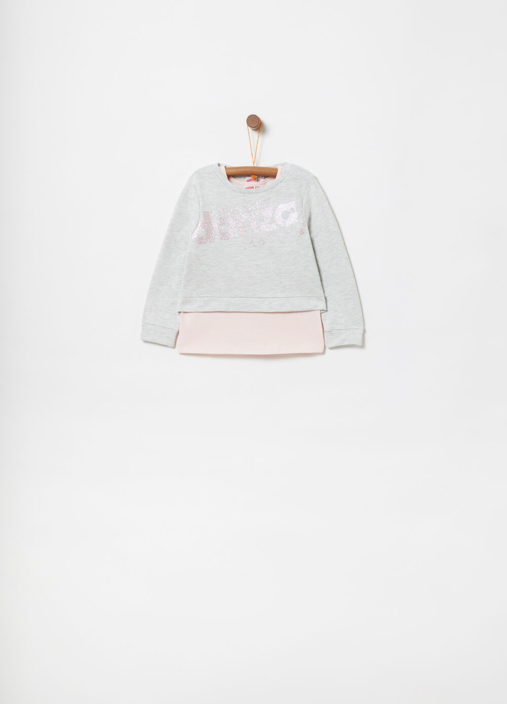 Sweatshirt with faux layer and glitter print