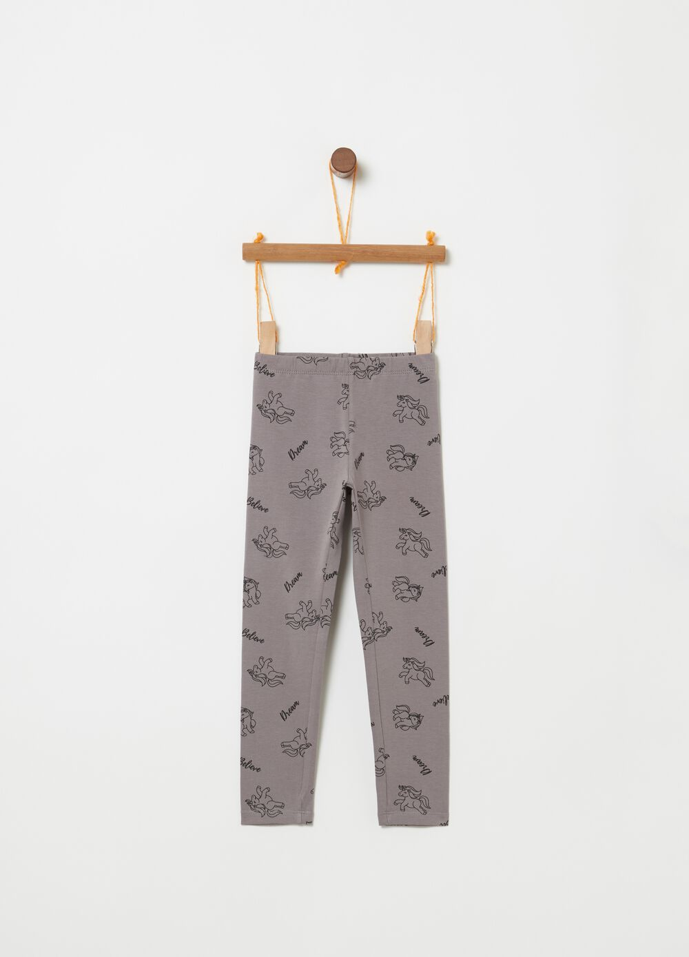 Stretch cotton leggings with unicorns
