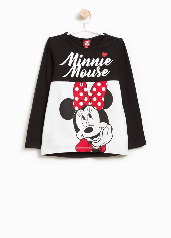 T-shirt cotone stretch Minnie strass