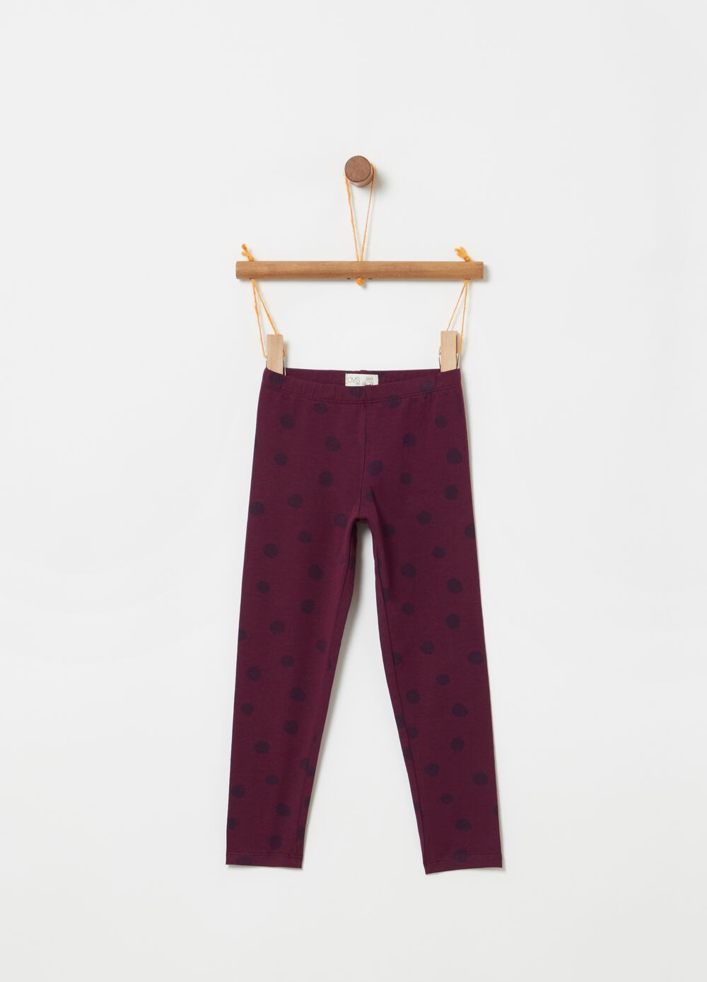 Leggings cotone stretch stampa a pois