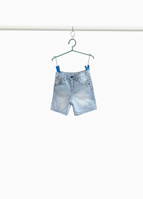 Denim Bermuda shorts with abrasions