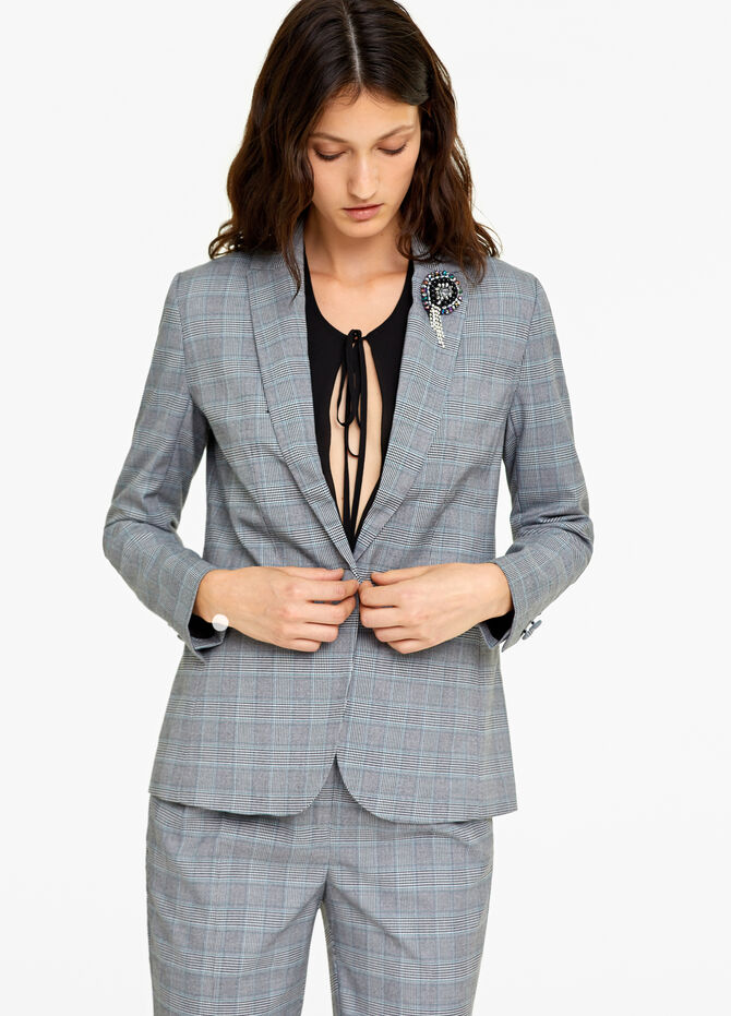 Tartan stretch single-breasted blazer