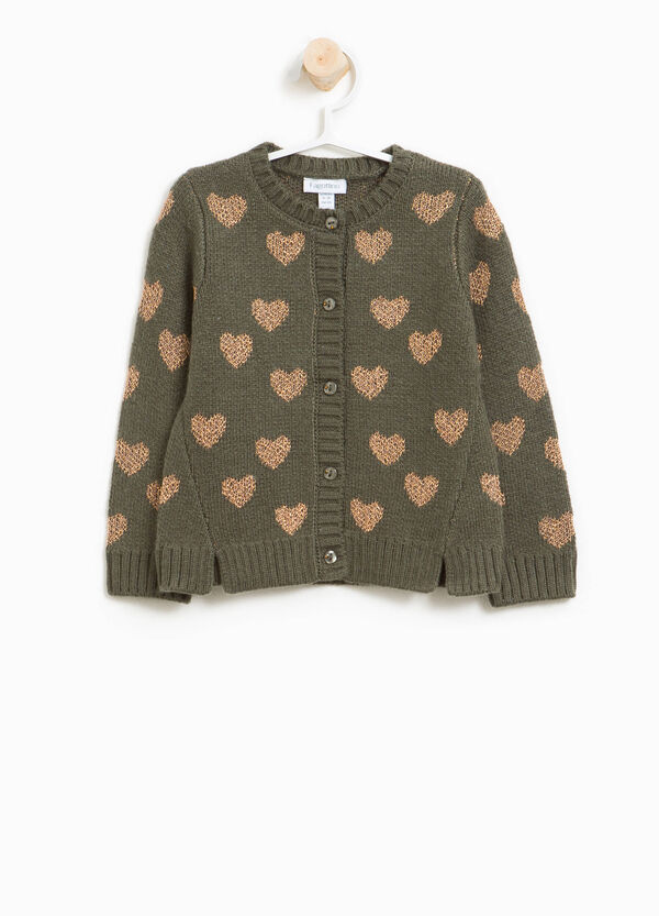 Viscose and wool knit heart cardigan