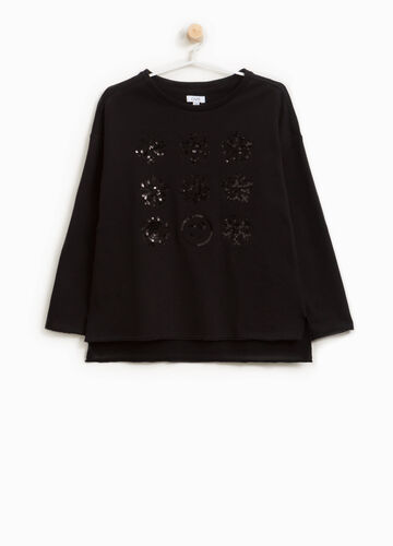 Sweatshirt with snowflakes sequins