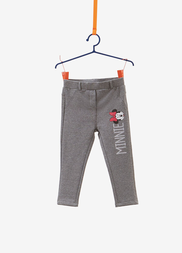 Stretch cotton trousers with Minnie Mouse pattern