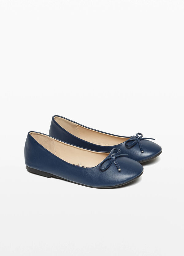 Canvas ballerina flats with bow