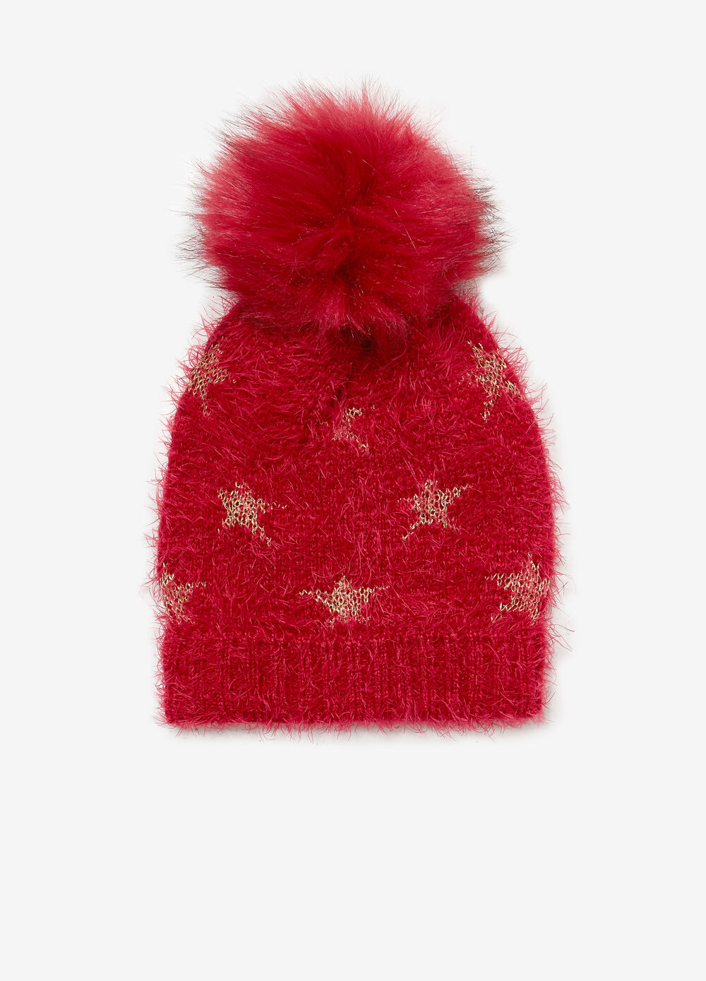 Frayed beanie cap with star pattern