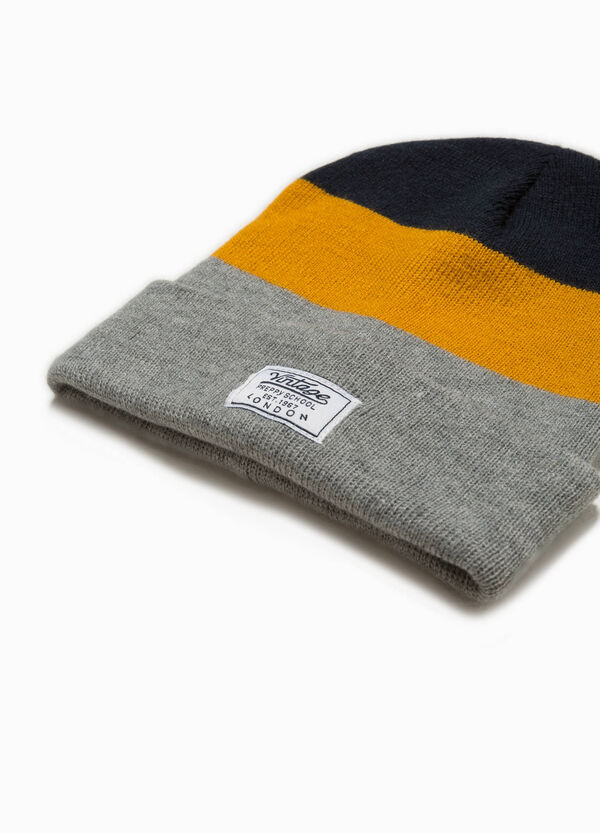 Striped beanie cap with patch | OVS
