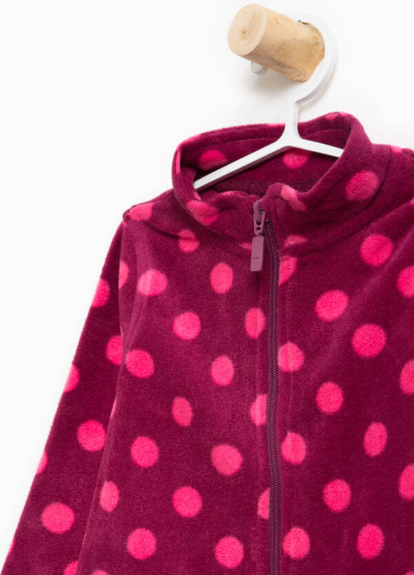 Polka dot patterned sweatshirt with high neck