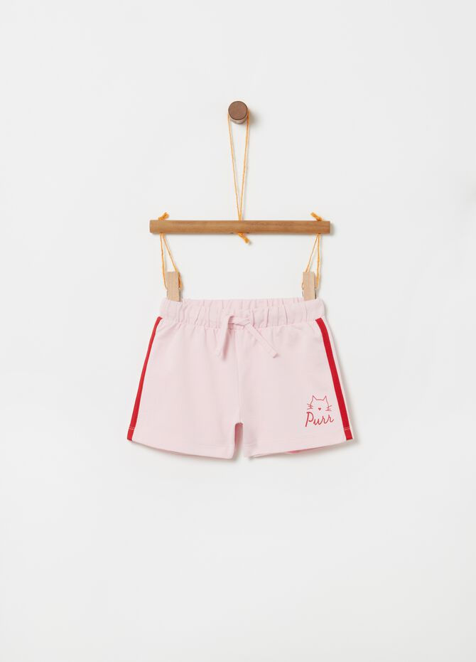 Shorts puro cotone coulisse e stampa