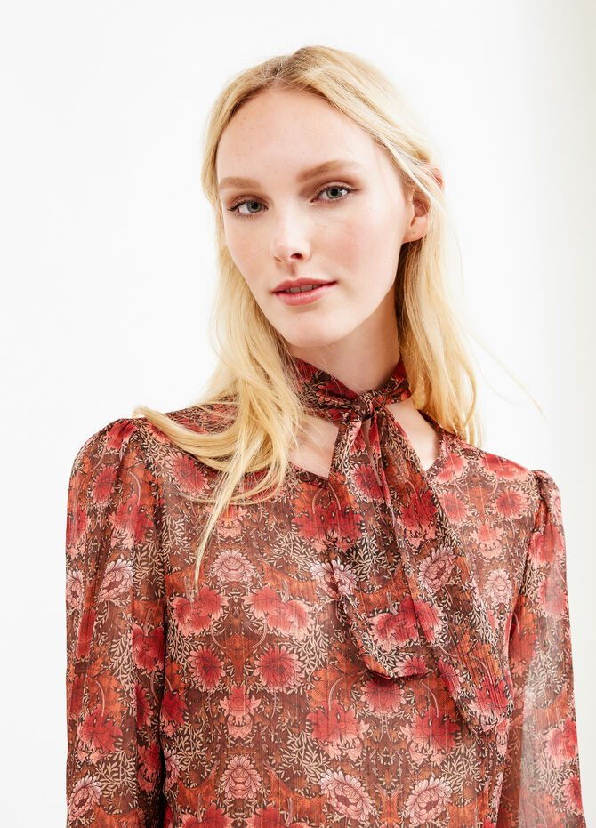 Blouse with all-over floral print tie
