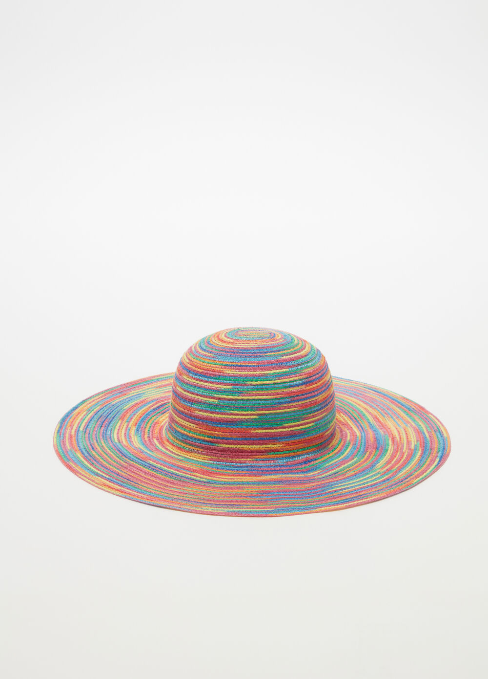 Straw-effect hat with multicoloured stripes