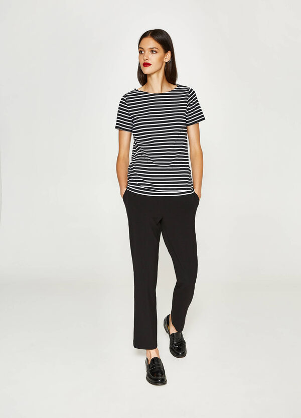 T-shirt in cotone stretch a righe