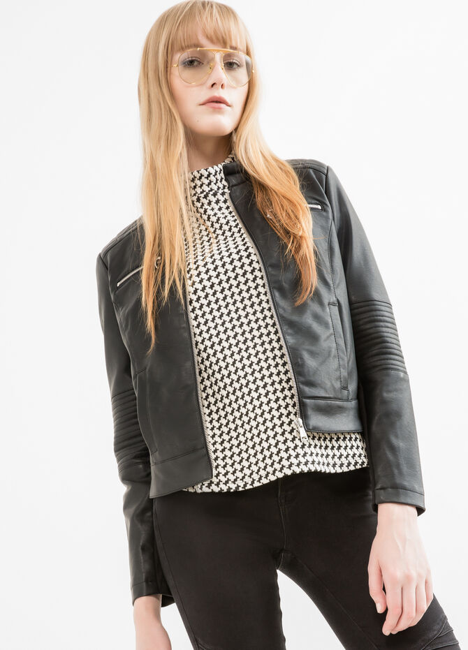 Quilted leather look jacket