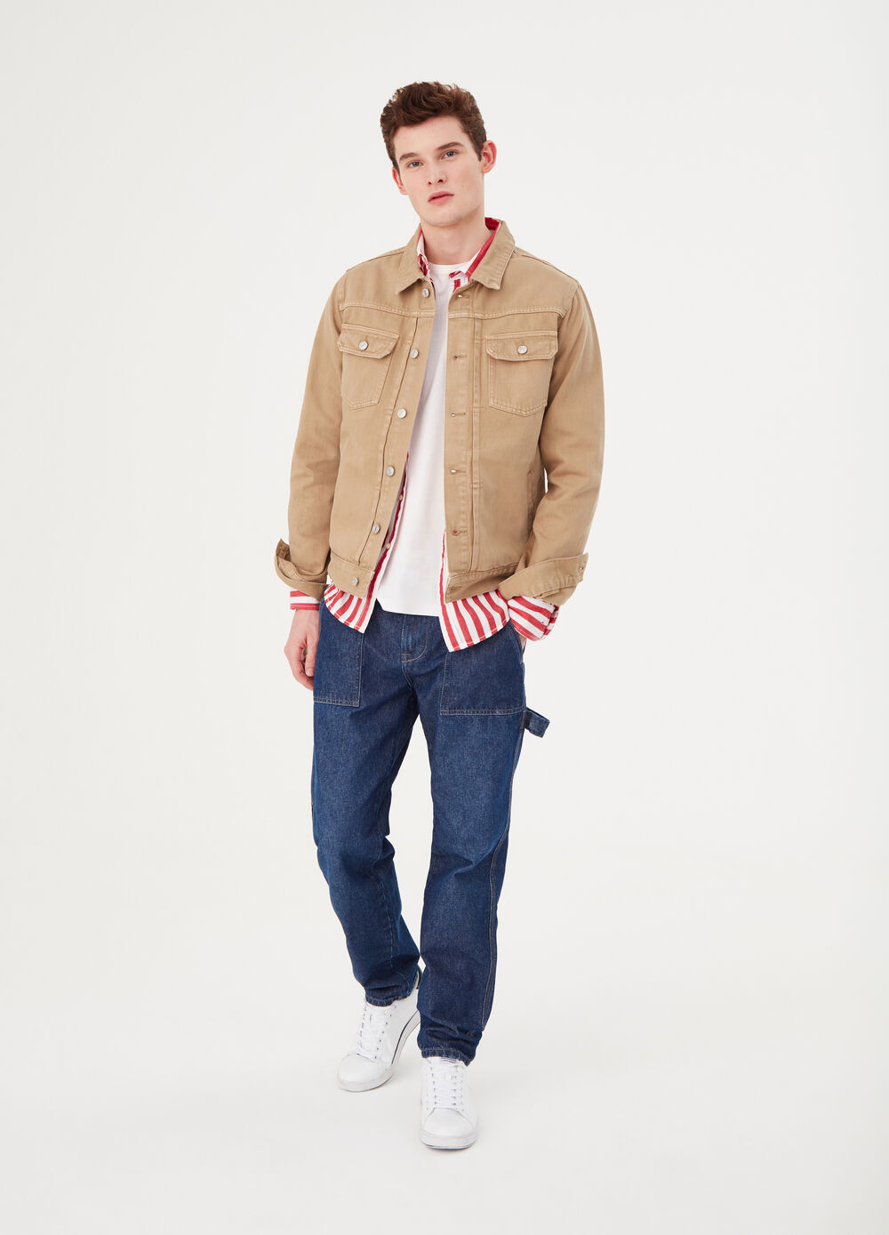 Solid colour denim jacket with buttons