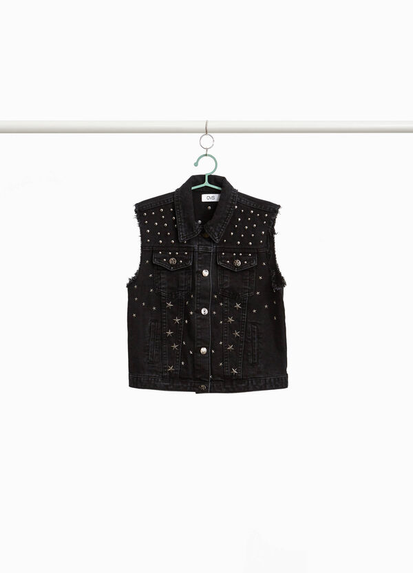 Denim waistcoat with round and star-shaped studs
