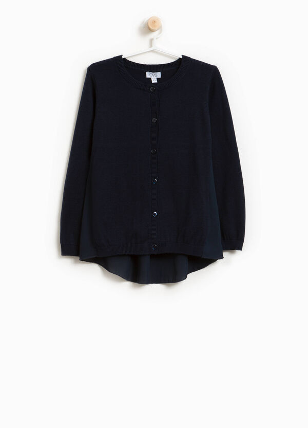 Cotton blend knitted cardigan with tulle | OVS