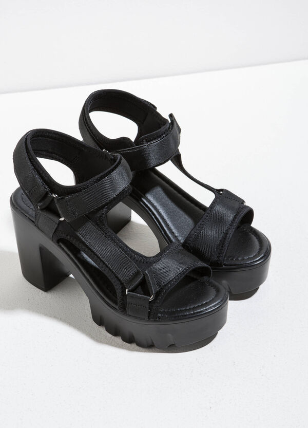 Canvas sandals with heel | OVS