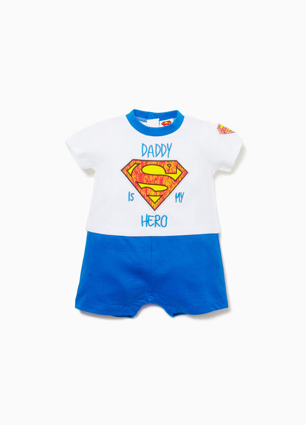 Two-tone cotton Superman romper suit