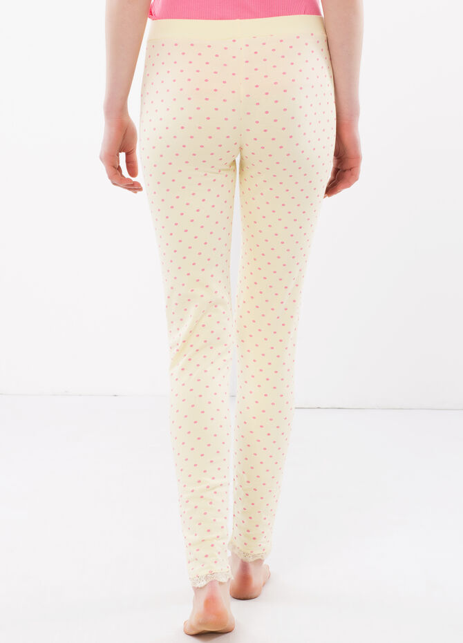 Stretch pants with polka dot print