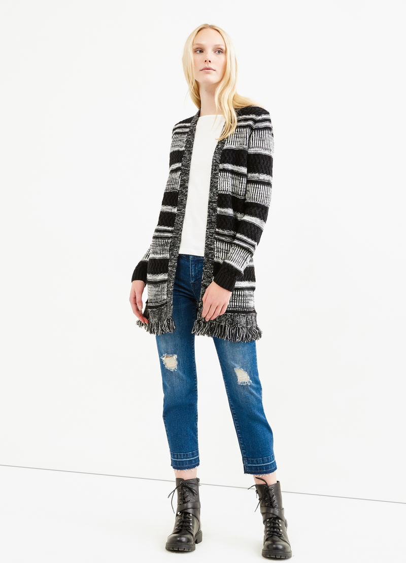 Cardigan lungo a righe con frange image number null