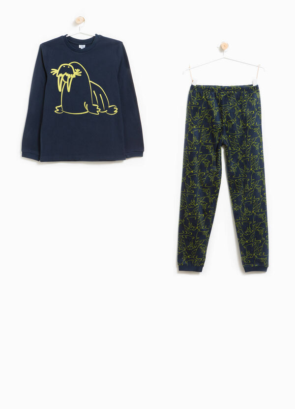 Fleece pyjamas with pattern and printed walrus | OVS