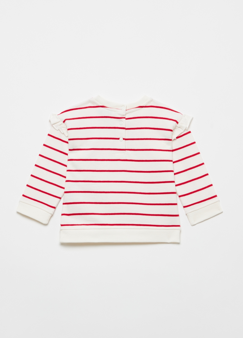 Striped sweatshirt in 100% cotton with frills image number null