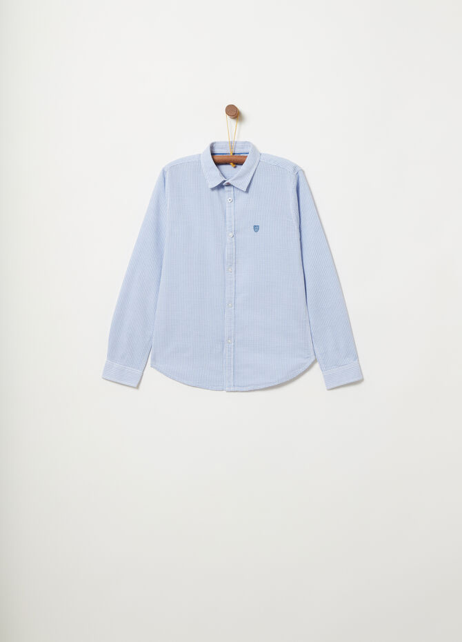 Slim-fit shirt with speckled weave