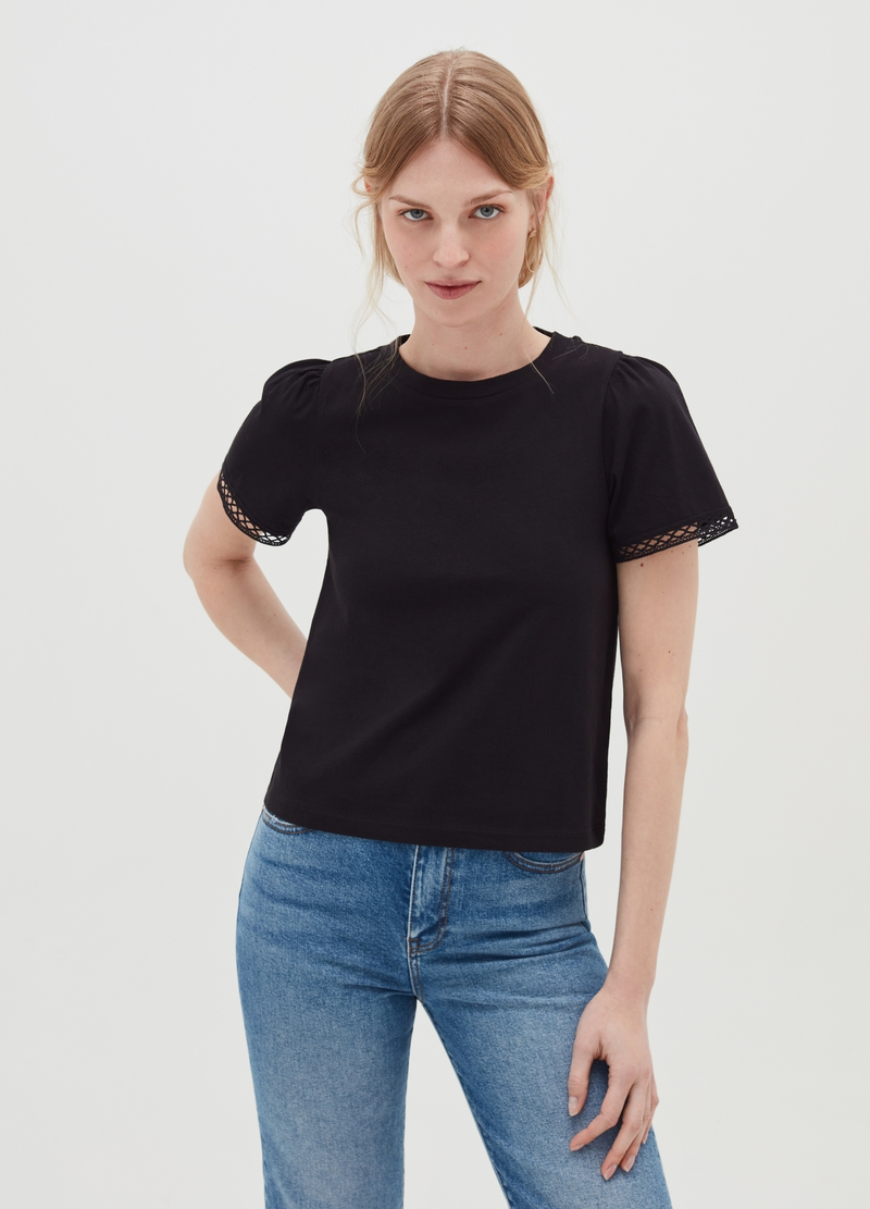 Short-sleeved T-shirt with openwork insert image number null