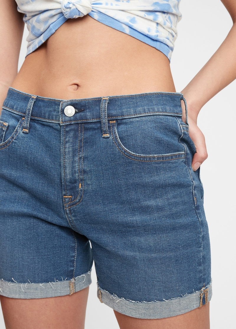 GAP denim shorts with raw edging image number null