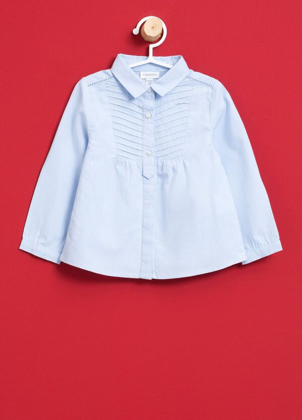 100% cotton shirt with pleating | OVS