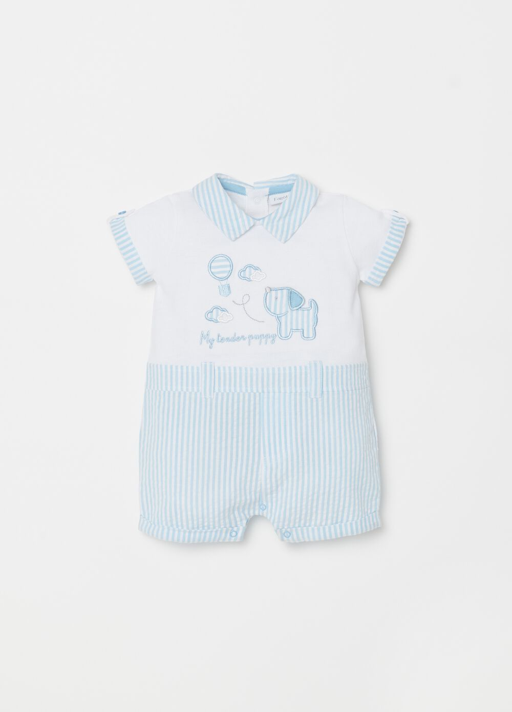 Romper suit with applications and striped pattern