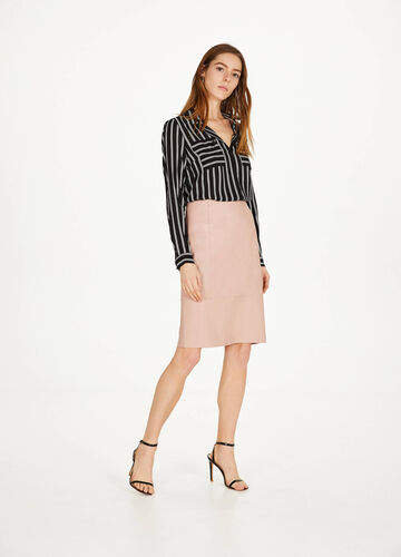 Leather-look pencil skirt with high waist