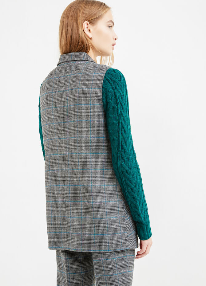 Long stretch waistcoat with check pattern
