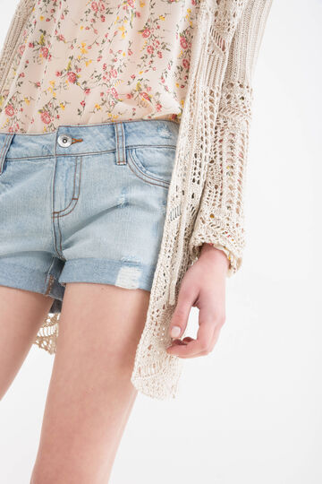 Shorts jeans used con strappi