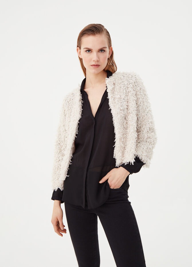 Fur-effect jacket cardigan
